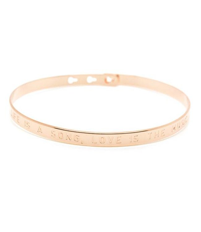 "Mya Bay Armband "" LIFE IS A SONG LOVE IS THE MUSIC"" Pink Gold"