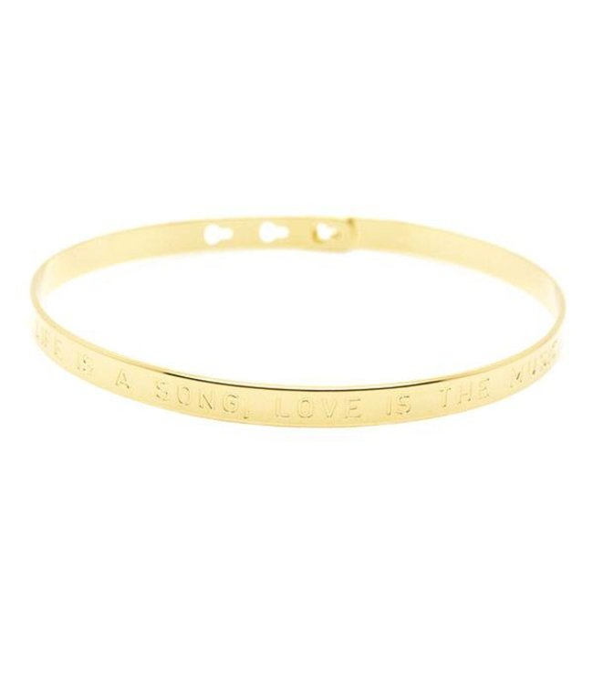 """Mya Bay Armband """" LIFE IS A SONG LOVE IS THE MUSIC"""" Gold"""