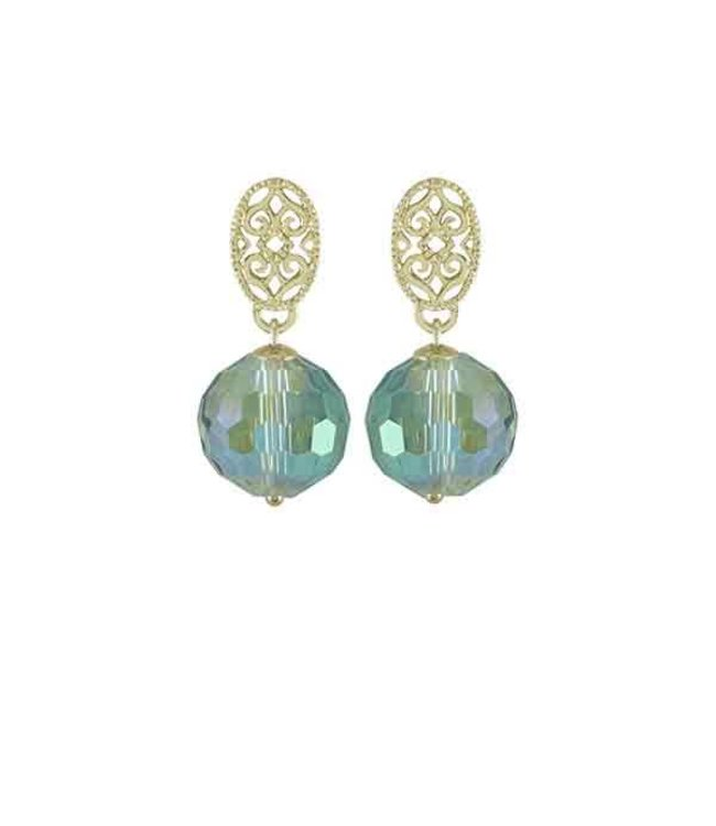 Souvenirs de Pomme Oorringen Helix Bead Green Shine