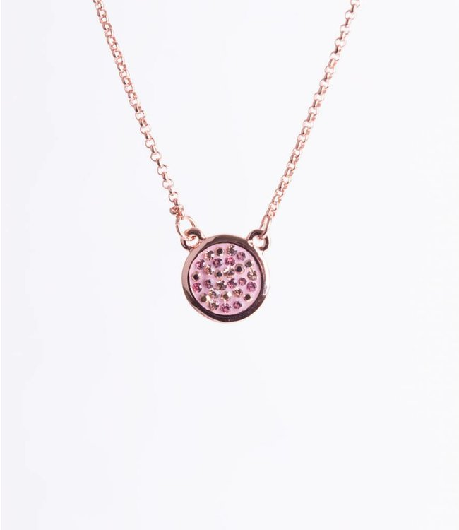 Phantasya Ketting Crystal Round Drop Pink
