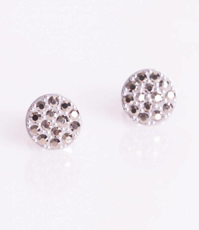 Phantasya Oorbellen Crystal Sphere Stud Grey