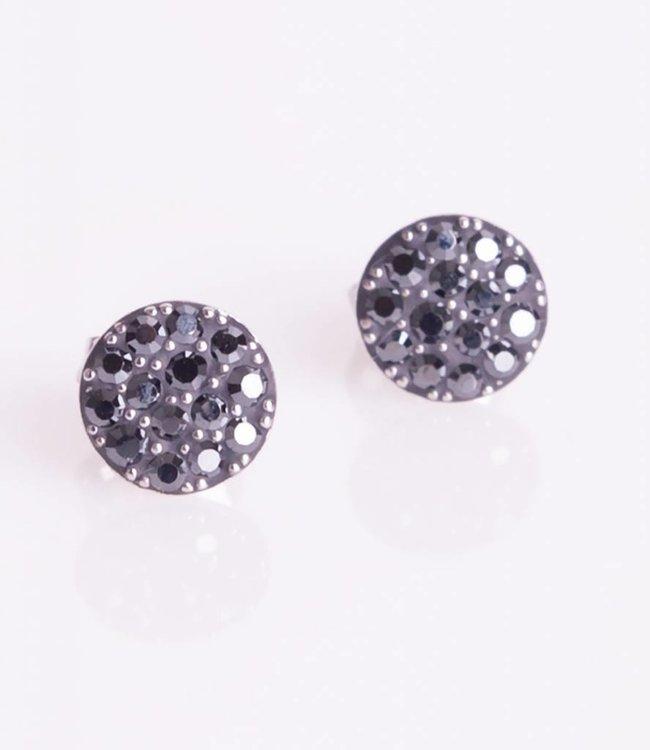 Phantasya Oorbellen Crystal Sphere Stud black