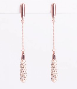 Phantasya Oorbellen Long Crystal Drop Rosegold