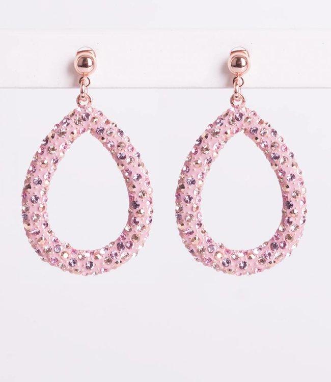 Phantasya Oorbellen Crystal Big Drop Pink