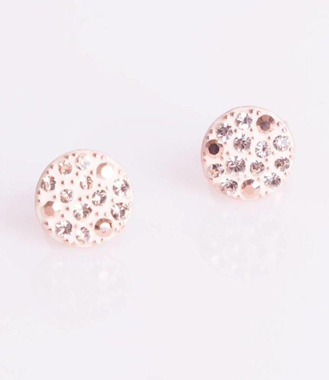Phantasya Oorbellen Crystal Sphere Stud rosegold
