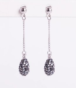 Phantasya Oorbellen Crystal Drop Stud Black