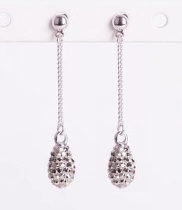 Phantasya Oorbellen Crystal Drop Stud Grey