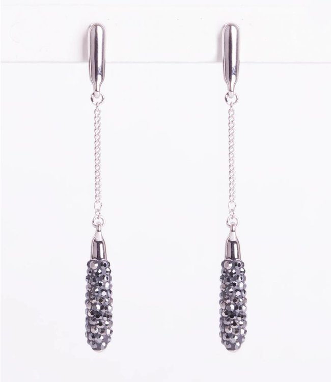 Phantasya Oorbellen Long Crystal Drop Black