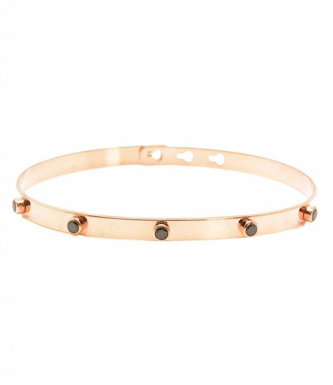 Mya Bay Armband 5 zwarte steentjes Rosegold