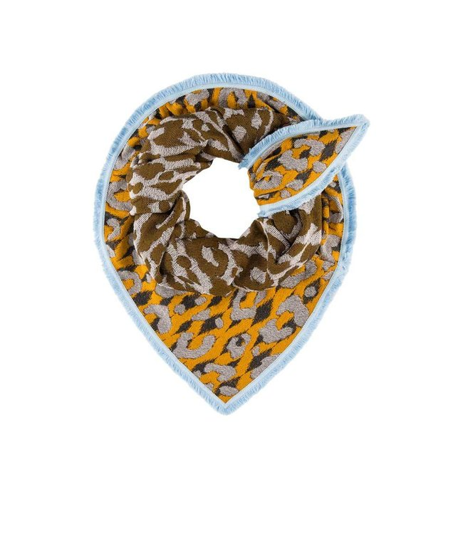 POM Amsterdam Sjaal Bright Leopard Mustard 551