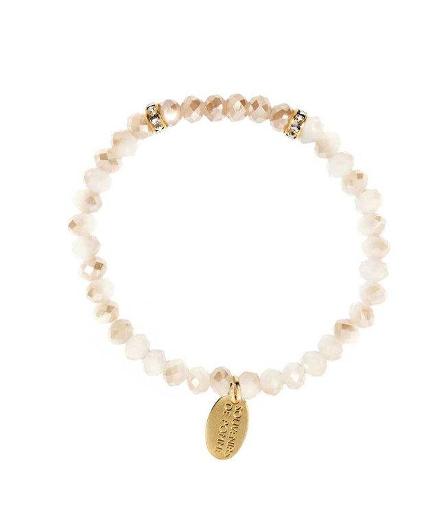 Souvenirs de Pomme Armband Crystal Small Peach