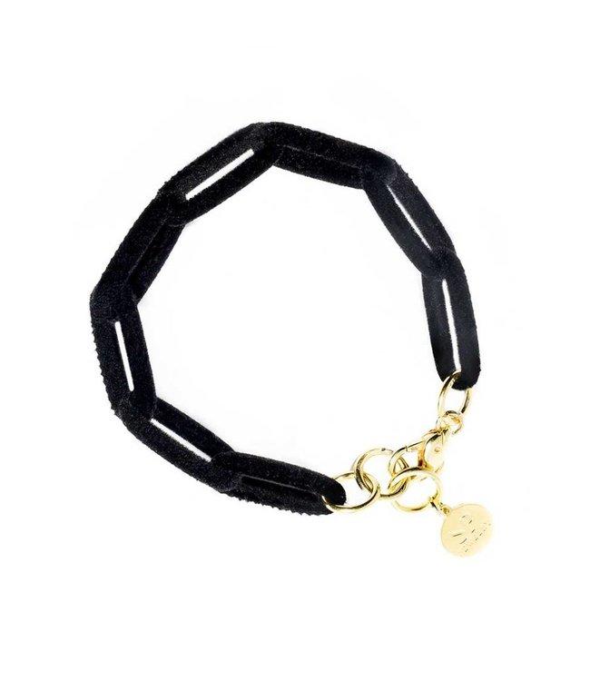 Souvenirs de Pomme Armband Velvet Link Black