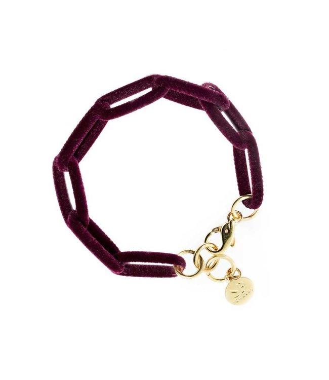 Souvenirs de Pomme Armband Velvet Link Bordeaux
