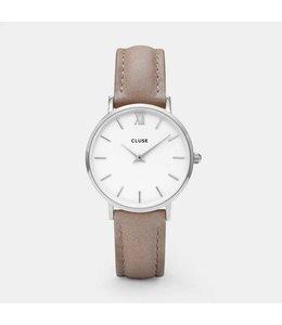 Cluse Minuit Silver White/Hazelnut