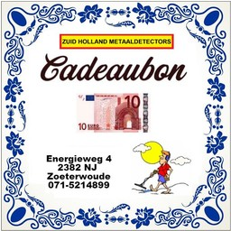 Zuid Holland Metaaldetectors Cadeaubon 10 euro