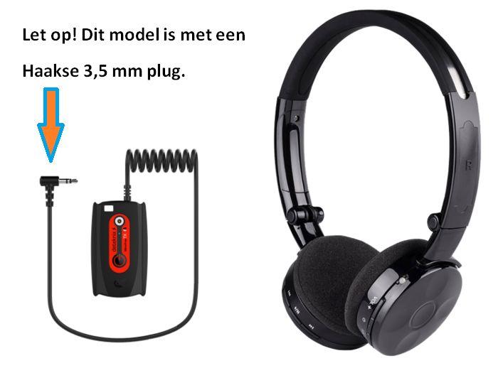 Deteknix Draadloze hoofdtelefoon met kleine haakse 3,5 mm plug.