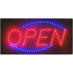 Bordje OPEN verhoog u winkel omzet, lichtbak met tekst