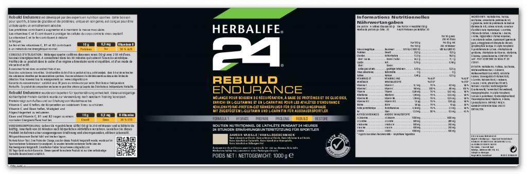 Herbalife 24 - Rebuild Endurance - Kohlenhydrat-Protein-Getränk - Vanillegeschmack