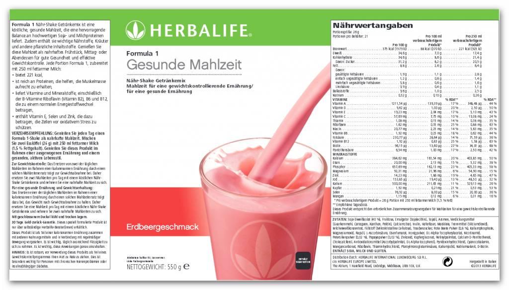 Herbalife Formula 1 Nähr-Shake Getränkemix - Erdbeere