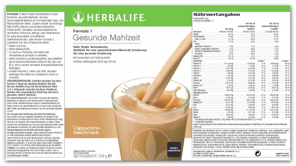 Herbalife Formula 1 Nähr-Shake Getränkemix - Cappuccino