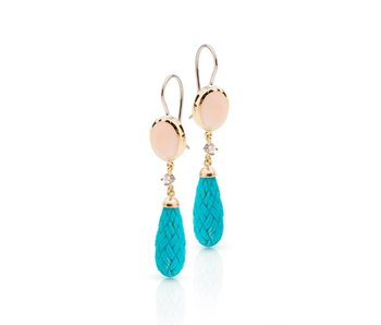 carved turquoise coral and diamond earrings
