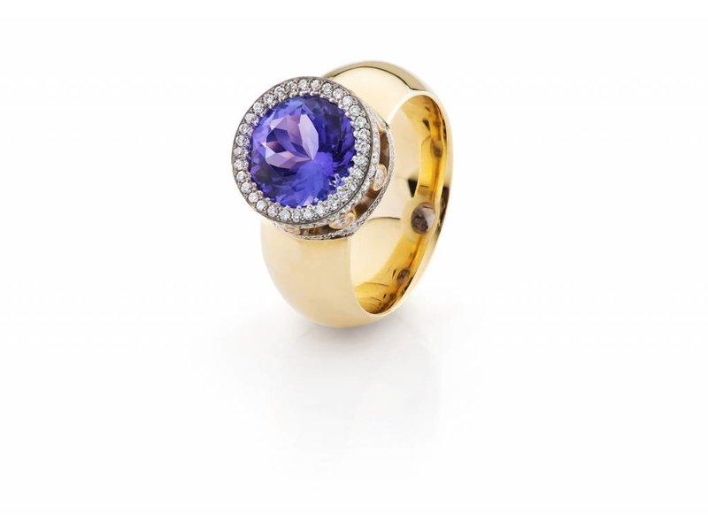 Tanzaniet en diamant ring