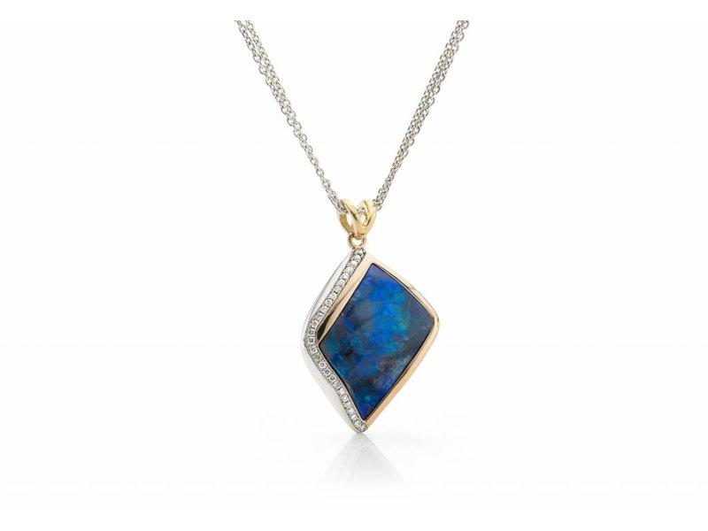 Australische opaal en diamanten hanger