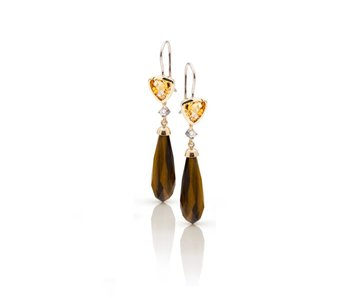 Diamond, Citrine and tiger eye earrings