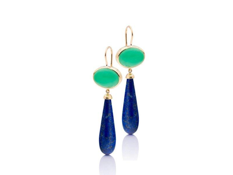Lapis Lazuli en chrysophrase oorhangers