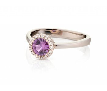 Paars roze saffier ring