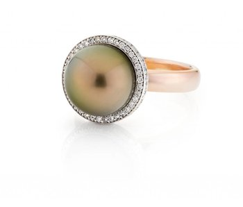 Tahiti parel en diamant ring