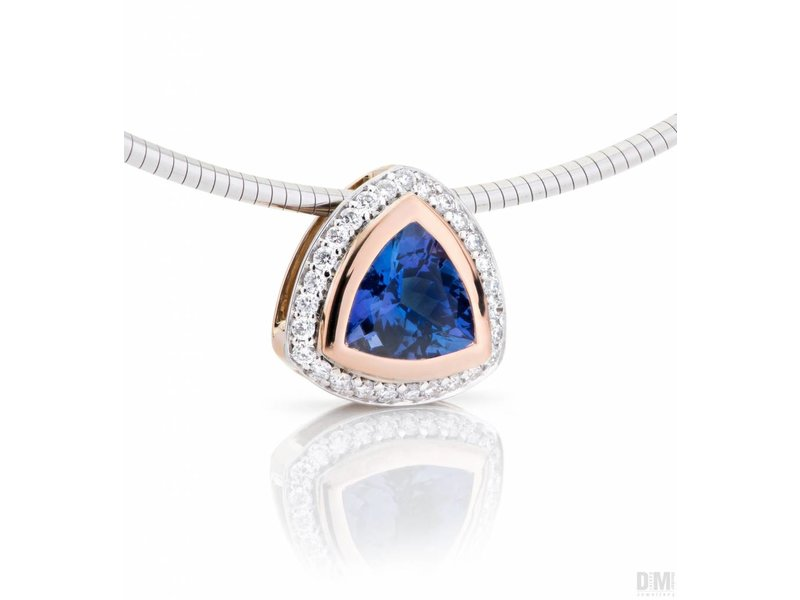 Tanzaniet en diamant hanger
