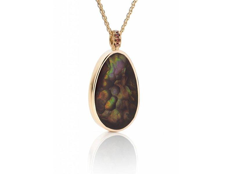 Arizona Fire agate and diamonds pendant
