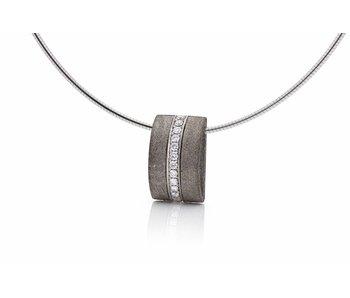 Gibeon meteorite and diamond pendant