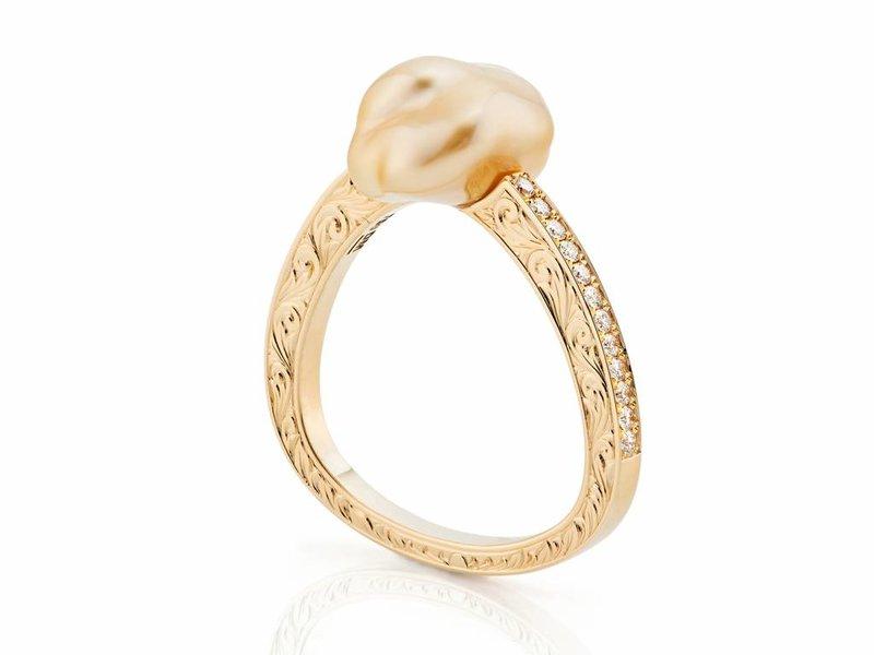 Barok Gouden zuid zee parel ring