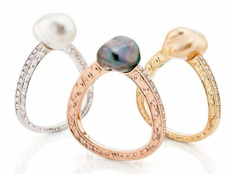 wit gouden barok parel ring