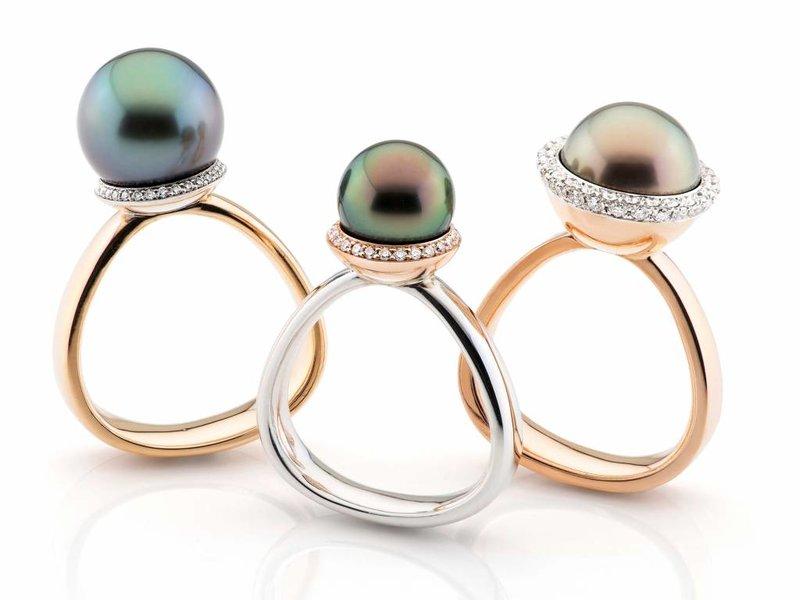 Gouden zuid zee parel en diamant pearl a trois ring