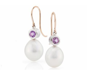 pink sapphire and south sea pearl earrings