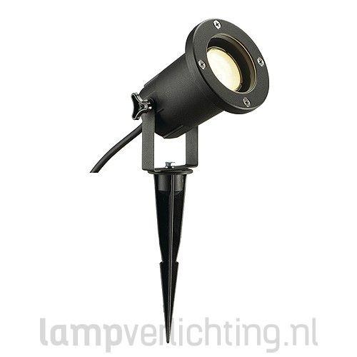 tuinspot spies 230v xl zwart met spies en kabel en stekker. Black Bedroom Furniture Sets. Home Design Ideas