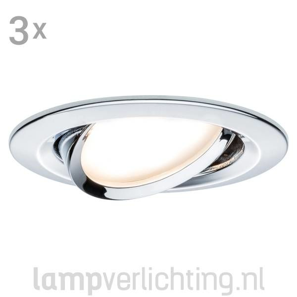3 Dimbare LED Inbouwspots 230V Diffuus