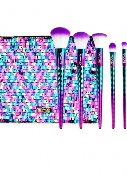 GWA Cosmetics GWA Mermaid Mythical Collection | 6pcs Makeup Brush Set