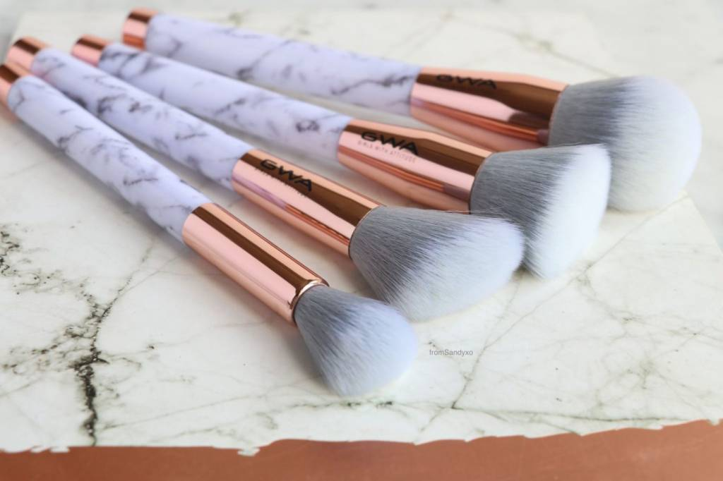 marble makeup brushes. gwa cosmetics the marble collection | 7pcs makeup brush set brushes