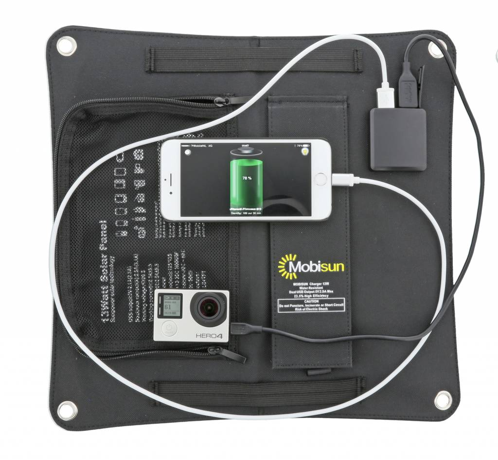 Mobisun 13W mobiel zonnepaneel USB