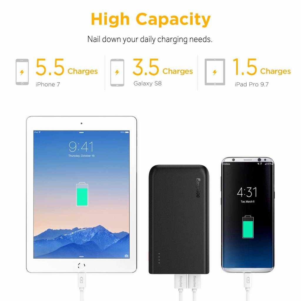 EasyAcc 16,750 mAh Quick Charge 3.0 powerbank | Mobisun