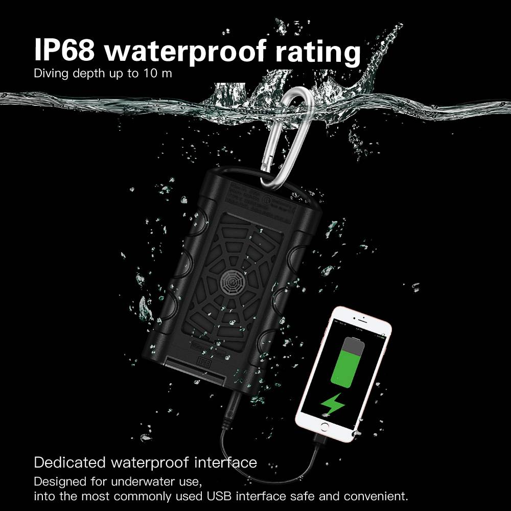 10.000 mAh Waterdichte Quick Charge 3.0 powerbank | Mobisun