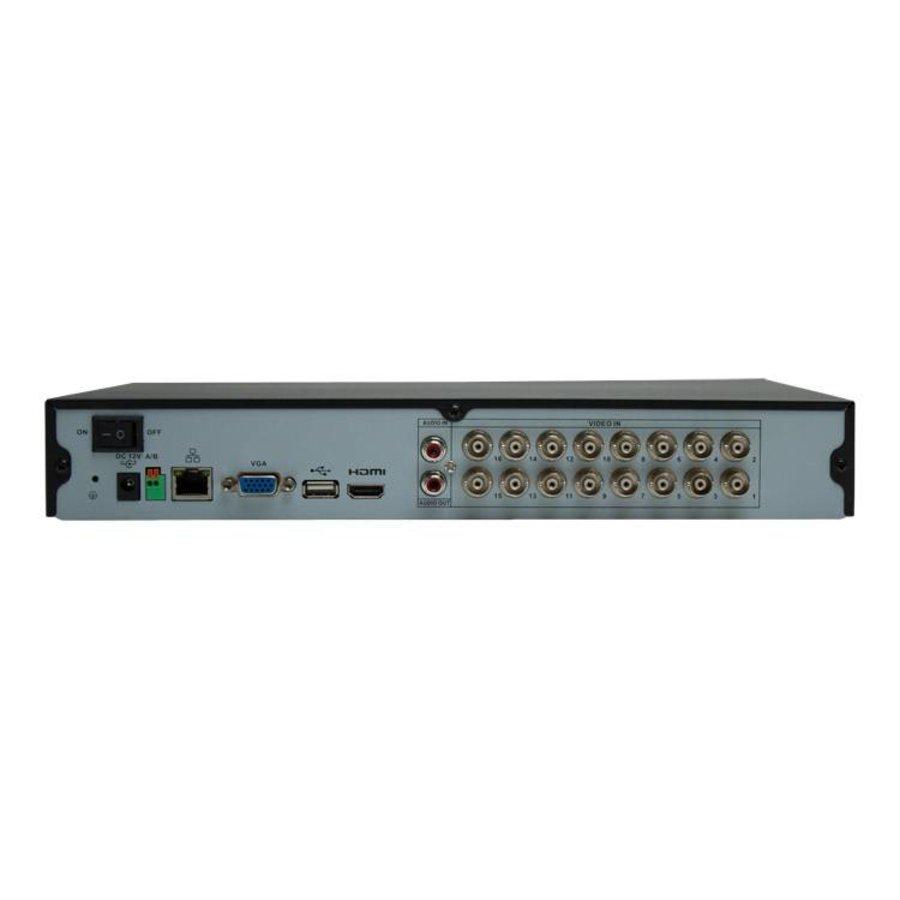 CC-CVR16 - 16 kanaals 720p HD-CVI en/of 960H analoog DVR H.264 incl. 2000 GB hardeschijf