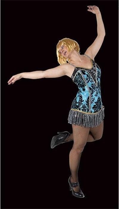 Blauwe burlesque jurk