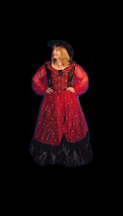 Rode historische jurk