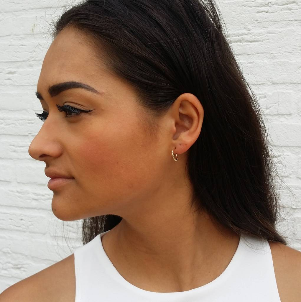 EDGY DOTTED HOOPS - GOLD