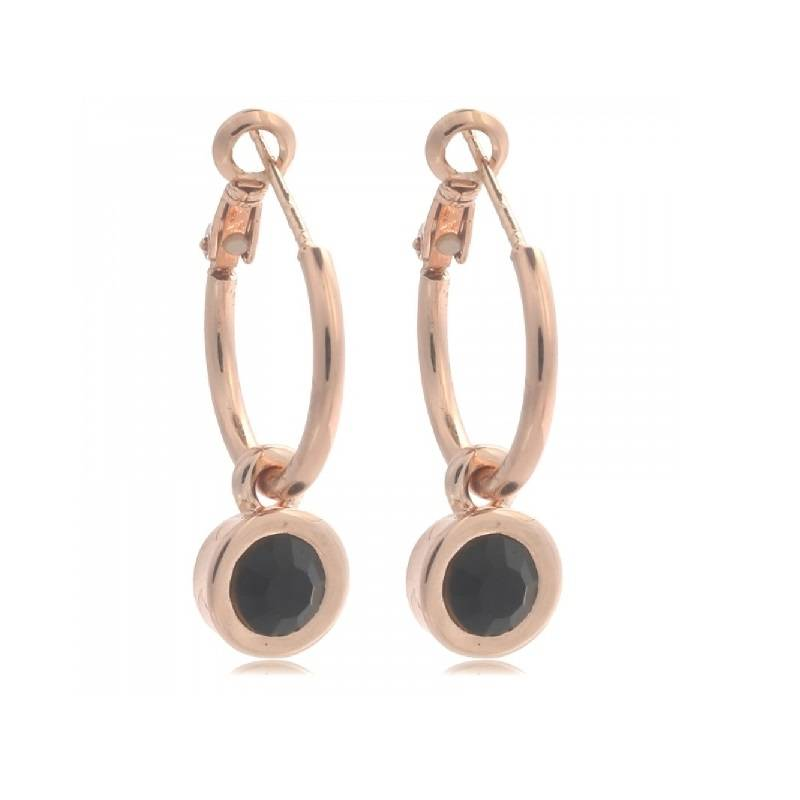 LA CHIC EARRINGS - ROSE/BLACK